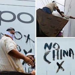 भारत और चीन सीमा पर छिड़े विवाद से नाराज पप्पू यादव ने सड़क पर लगे चीनी कंपनियों के विज्ञापनों पर पोती कालिख
