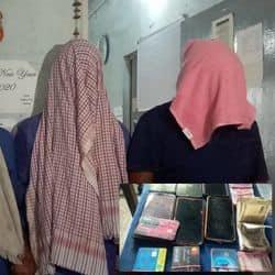 फोटो- पुलिस की गिरफ्त में आए चारों अपराधी और बरामद सामान