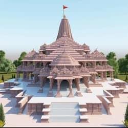 श्रीराम जन्मभूमि मंदिर परिसर में बन रहा कंक्रीट मिक्सिंग प्लांट.