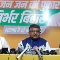 केन्द्रीय मंत्री रविशंकर प्रसाद ने प्रेस काॅन्फ्रेंस में कहा, बिहार विधानसभा चुनाव में जनता फिर से एनडीए को आशीर्वाद देगी.