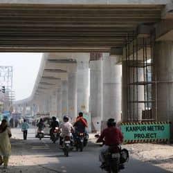 कानपुर मेट्रो स्टेशन परियोजना के तहत जारी निर्माण कार्य