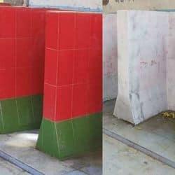 सपाइयों के कड़े विरोध के बाद गोरखपुर रेलवे अस्पताल के टाॅयलेट की दीवारों का रंग बदल दिया गया है.