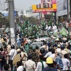 मंहगाई और बेरोजगारी को लेकर राजद कार्यकर्ताओं के मार्च में जमकर हंगामा हुआ. फोटो क्रेडिटः लोकमत