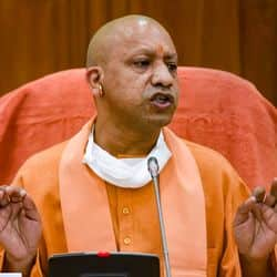 Lucknow;  Uttar Pradesh Chief Minister Yogi Adityanath addresses a press conference after the presentation of State Budget  2021-22 in UP assembly, in Lucknow, Monday, Feb. 22, 2021. (PTI Photo/Nand Kumar)(PTI02_22_2021_000083B)