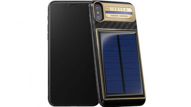 tesla Iphone x with solar charger