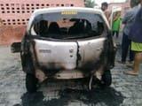 मेडिकल कालेज कैंपस में पेट्रोल डालकर कार में लगाई आग, जलकर राख