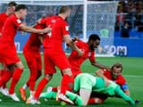 England's players celebrated after defeating Colombia in a penalty shootout