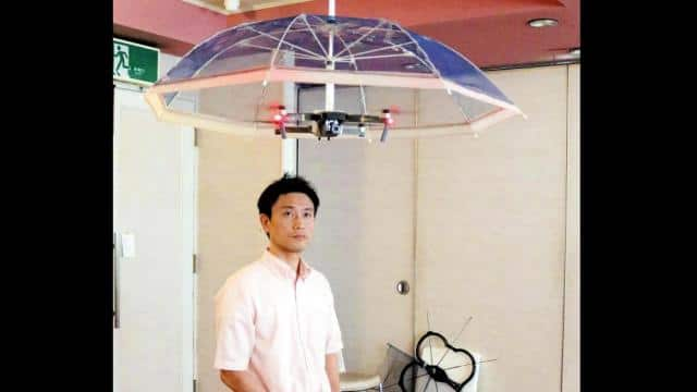 Japanese IT company develops drone umbrella that flies over