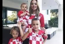 Vanja Bosnic poses for a snap with son Ivano and daughters Ema and Sofia