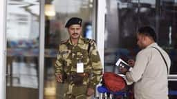 CISF security personnel during the security check at IGI Airport T3 in New Delhi. (HT File Photo)