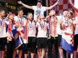 Croatian national football team players attend a welcoming ceremony