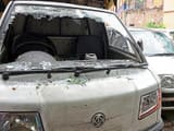 A vehicle that was damaged during Thursday night's violence in Trilokpuri.(Sonu Mehta/HT PHOTO)