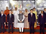 Prime Minister Narendra Modi along with BRICS and BIMSTEC leaders posing for a group photo during th