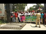 collectorate gate broken JAP activists during protest for NH 107