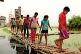 विद्यानगर में चचरी पुल बना लाइफ लाइन