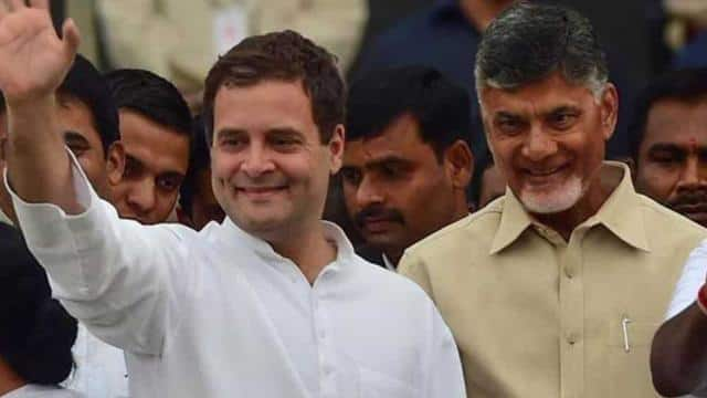 Congress party president Rahul Gandhi with TDP chief and Andhra Pradesh CM Chandrababu Naidu at HD K