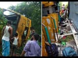 20 child injured of school bus after bus overturned in road due to stumbling by truck at araria four