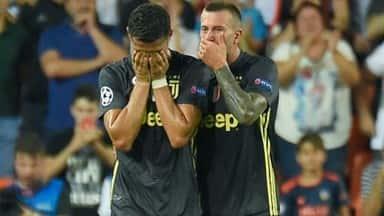 cristiano ronaldo cries at champions league match against Valencia