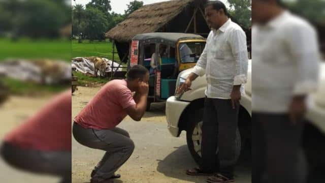 Viral photo of arrogance of JDU MLA in banka: given punishment to truck driver on road