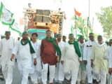 Bharatiya Kisan union farmers seen during Kisan Kranti Yatra, at NH58 main road, in Ghaziabad on Oct