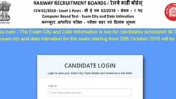 RRB Group D Admit Card 2018, exam date, city, shift details