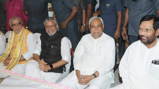Bihar chief minister Nitish Kumar, his deputy Sushil Modi and Union minister Ram Vilas Paswan at the