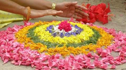 flower rangoli, simple rangoli design