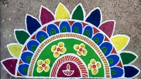 latest rangoli design, rangoli for diwali