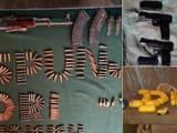 अखनूर सेक्टर से बरामद विस्फोटक व हथियार(एएनआई फोटो)