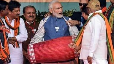 chhattisgarh election 2018: prime minister narendra modi plays traditional drum during rally