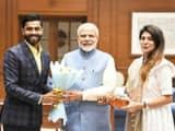 Ravindra Jadeja meets PM Modi with wife