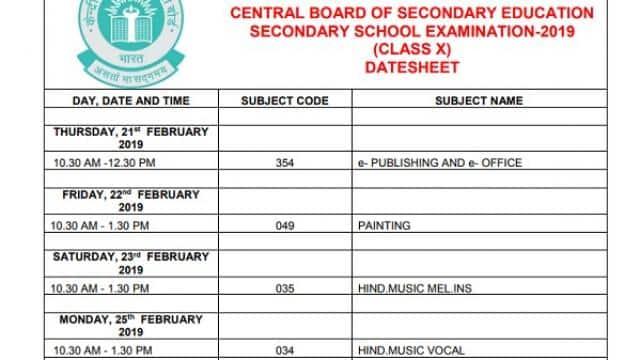 date sheet of 10 class 2019