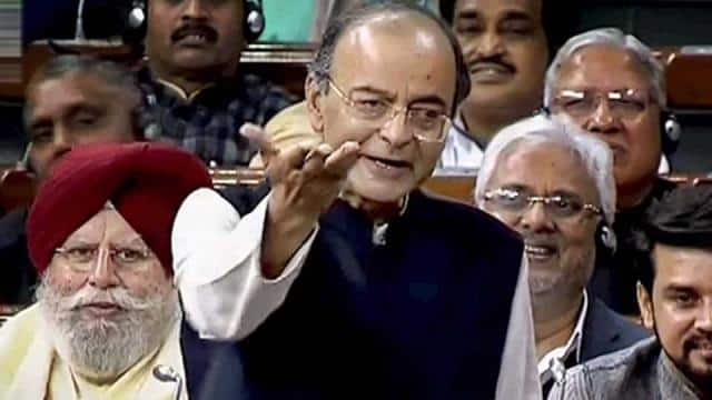 Finance Minister Arun Jaitley in Lok Sabha durning 10 percent quota for weaker Section of society.PT