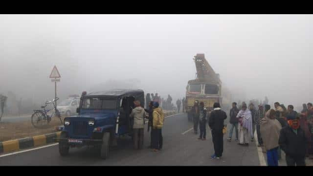 Fog havoc at Araia: one killed in accident in seven vehicle collision one by one on NH 57