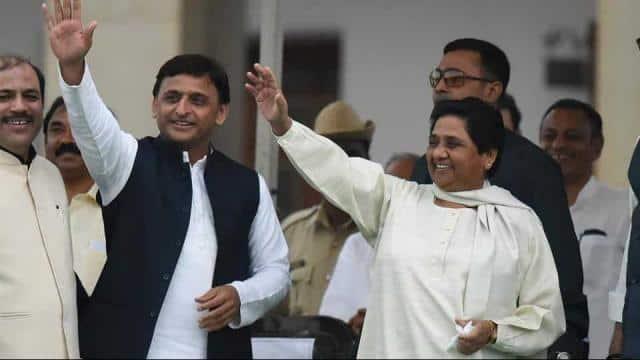 amajwadi Party leader Akhilesh Yadav along with Bahujan Samaj Party chief Mayawati during the sweari