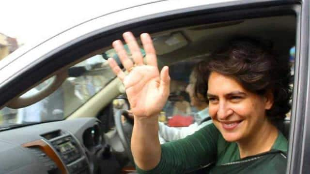 file photo of Priyanka Gandhi Vadra waving to supporters of the Congress party after election at Ame