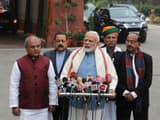 Prime Minister Narendra Modi addresses the media at parliament for a budget session in New Delhi