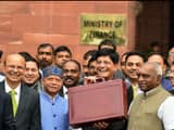 Finance minister Piyush Goyal with his Cabinet colleagues outside the North Block on Friday (Ramesh