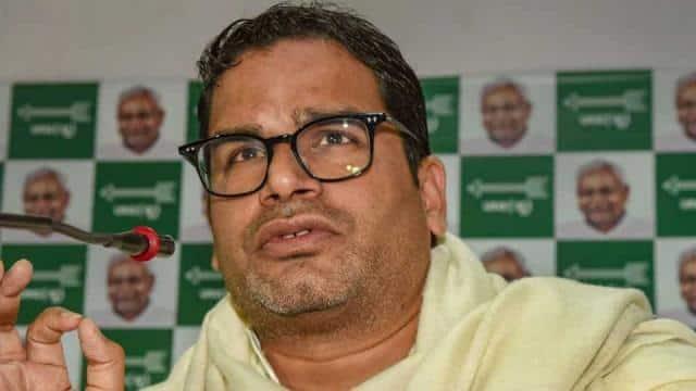 Election strategist and JDU leader Prashant Kishor addresses a press conference at his party office,