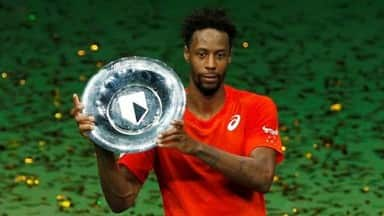 France Gael Monfils celebrates winning the Rotterdam Open with the trophy