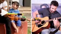Taimur, Taimur Playing Guitar, Taimur Guitar Video, Saif Ali Khan, Taimur Ali   Khan,