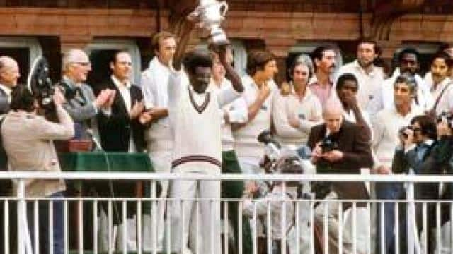 Clive Lloyd with the 1979 World Cup trophy (Patrick Eagar/Hindustan Times)