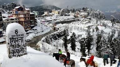 snow covered mountains after fresh snowfall in Himachal Pradesh