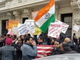 More than hundred US-based Indians protested outside the Pakistan consulate in New York, on 22 Febru