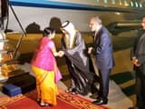 Sushma Swaraj arrives in Abu Dhabi (ANI Twitter Handle)
