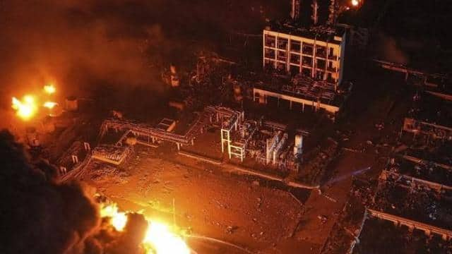 china chemical plant blast  march 21  2019  aerial photo released by xinhua