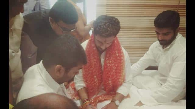 chirag paswan doing puja at jamui before going for filling nomination form for lok sabha election 20