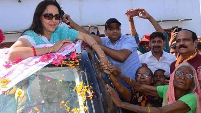 mathura  bjp candidate hema malini addressing during election campaign