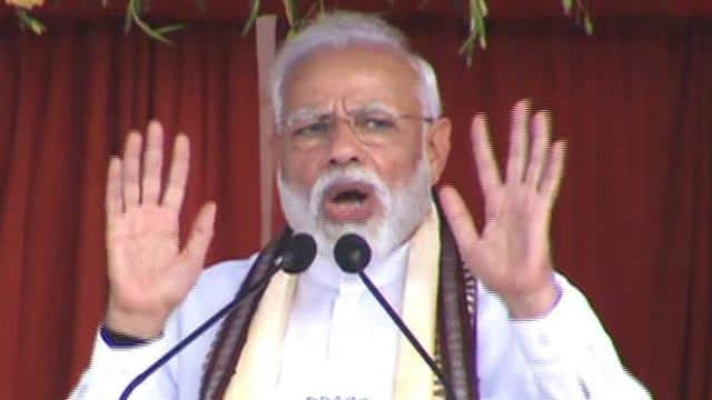 prime minister narendra modi addresses at a election public meeting in odisha