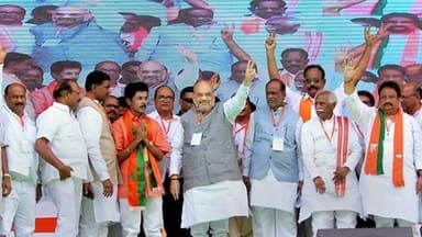 hyderabad  bjp national president amit shah addresses an election rally